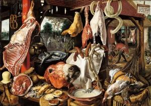 Рис. 22_Питер_Артсен_Мясная лавка со святым семейством, раздающим милостыню_1551
